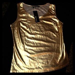 Allegra K- Shiny Gold Sleeveless Blouse